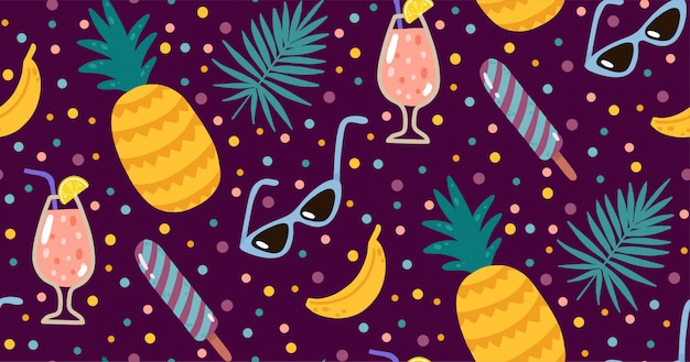 Summer seamless pattern with lemonade, bananas, sunglasses, ice creams, and palms leaves.