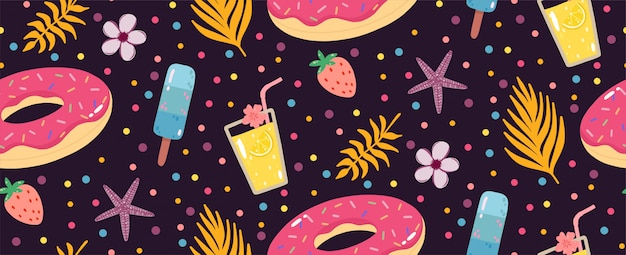 Summer seamless pattern with lemonade, inflatable donuts, ice creams, and palms leaves.