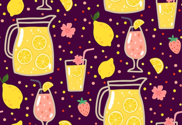 Summer seamless pattern with lemonade, lemons, strawberries, flowers, and cocktails