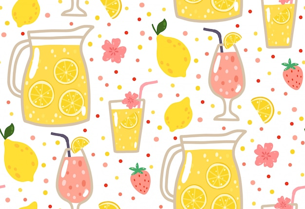 Summer seamless pattern with lemonade, lemons, strawberries, flowers, and cocktails.