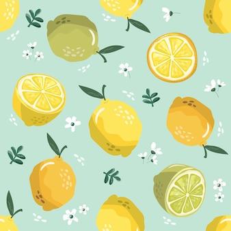 レモンと花の夏のシームレスなパターン。