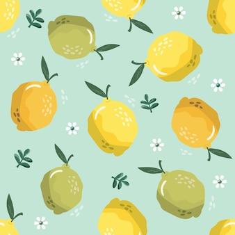 Летний фон с лимонами и цветением.