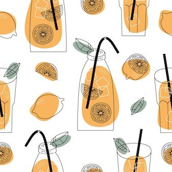 Summer seamless pattern with lemons and lemonade