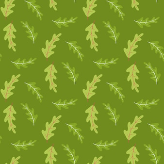 Summer seamless pattern with oak leaves in green tones