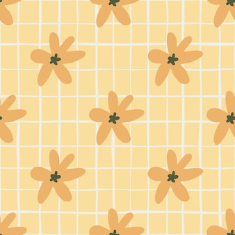 Summer seamless pattern with orange daisy flowers. pastel light orange background with check
