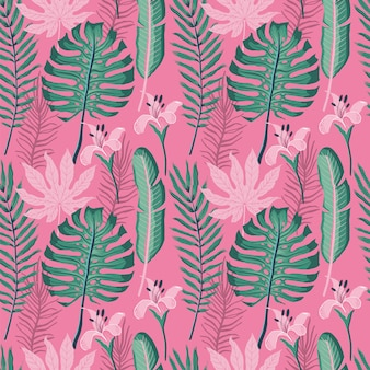 Summer seamless pattern with palm leaves.