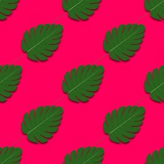 ヤシの木の葉を持つ夏のシームレス パターン。