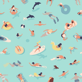 Summer seamless pattern with people swimming