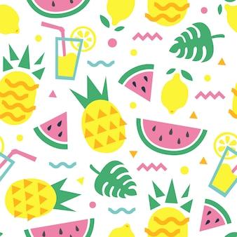 파인애플, 수 박 조각, 레몬, 칵테일 및 몬스 테라 잎 여름 완벽 한 패턴입니다. 패션 프린트 디자인