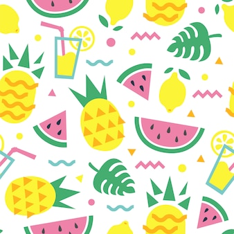 Summer seamless pattern with pineapple, watermelon slice, lemon, cocktail and monstera leaves. fashion print design