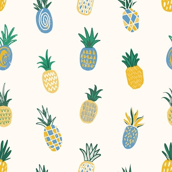Summer seamless pattern with pineapples of different texture scattered on white background. backdrop with delicious sweet fresh tropical juicy fruits. flat illustration for fabric print.