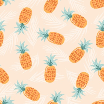 Summer seamless pattern with pineapples. fruit illustration
