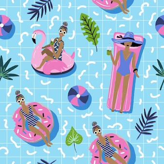 Summer seamless pattern with relaxing girls.