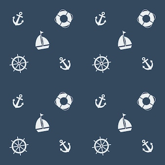 Summer seamless pattern with sailing boat