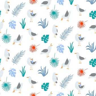 Summer seamless pattern with seagulls in vector.