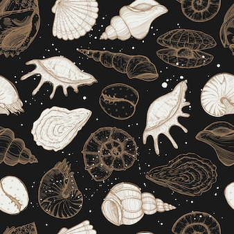 Summer seamless pattern with seashells and mussels.