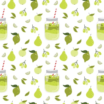 Summer seamless pattern with smoothie.