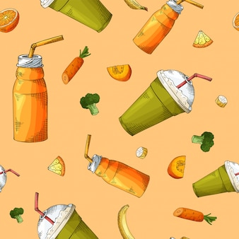 Summer seamless pattern with smoothies.