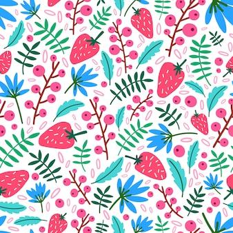 イチゴ、花、白い背景の上の葉で夏のシームレスなパターン。熟した野生の果実の自然な背景。包装紙、テキスタイルプリント、壁紙の装飾的なイラスト。