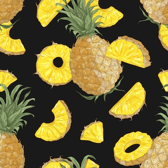 Summer seamless pattern with sweet pineapples, whole and cut into pieces and slices on black background.