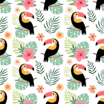 Summer seamless pattern with toucan and flowers