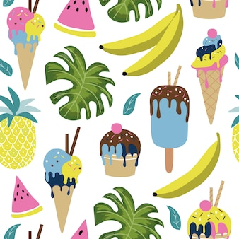 Summer seamless pattern with tropical elements.