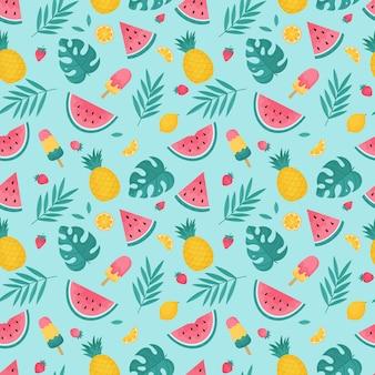 熱帯の葉、スイカ、パイナップルと夏のシームレスなパターン。ベクトルイラスト。