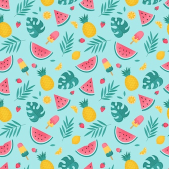 Summer seamless pattern with tropical leaves, watermelons and pineapples. vector illustration.