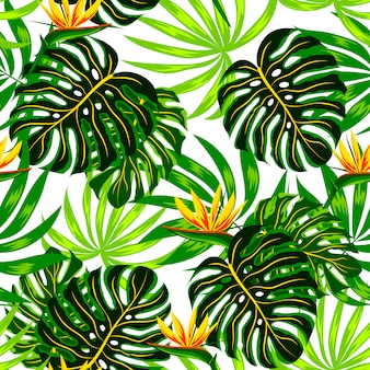 Summer seamless pattern with tropical plants and flowers