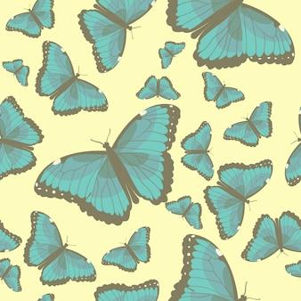 ターコイズブルーの蝶のイラストが夏のシームレスパターン