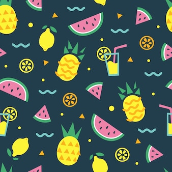Summer seamless pattern with watermelon, pineapple, cocktail, lemon, orange