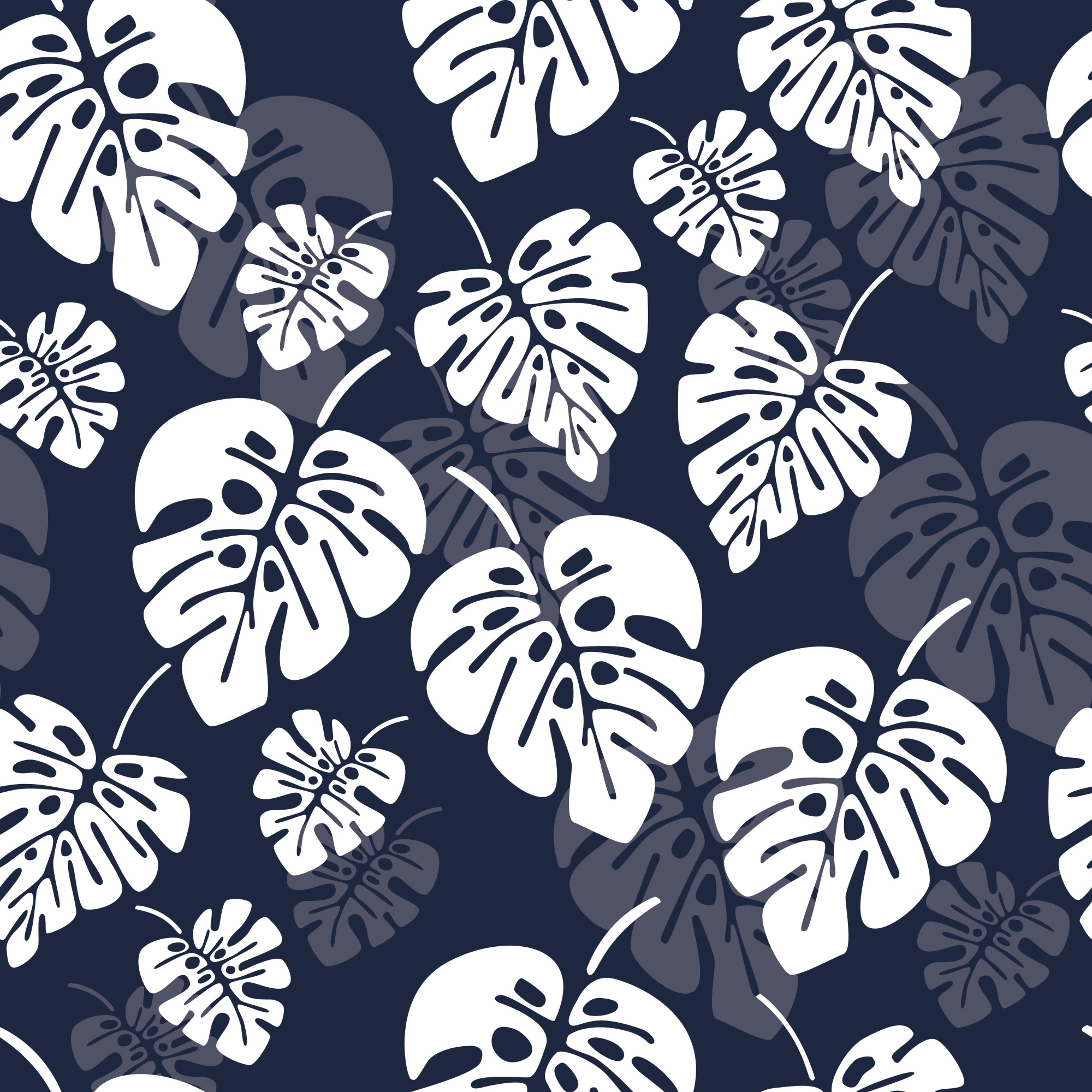 Summer seamless pattern with white monstera palm leaves on blue background