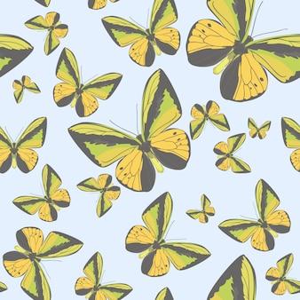 黄色の蝶のイラストが夏のシームレスパターン