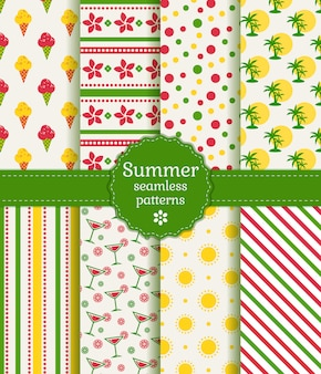 Summer seamless patterns. collection.