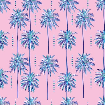 Summer seamless sweet palm trees pattern on sweet pink background