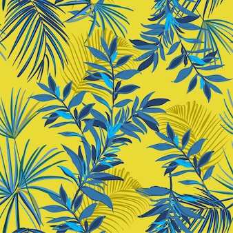 Summer seamless tropical pattern palm leaves  vector