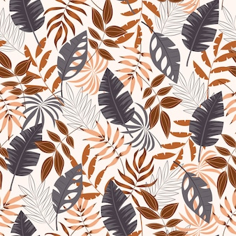 Summer seamless tropical pattern with leaves and plants on white background