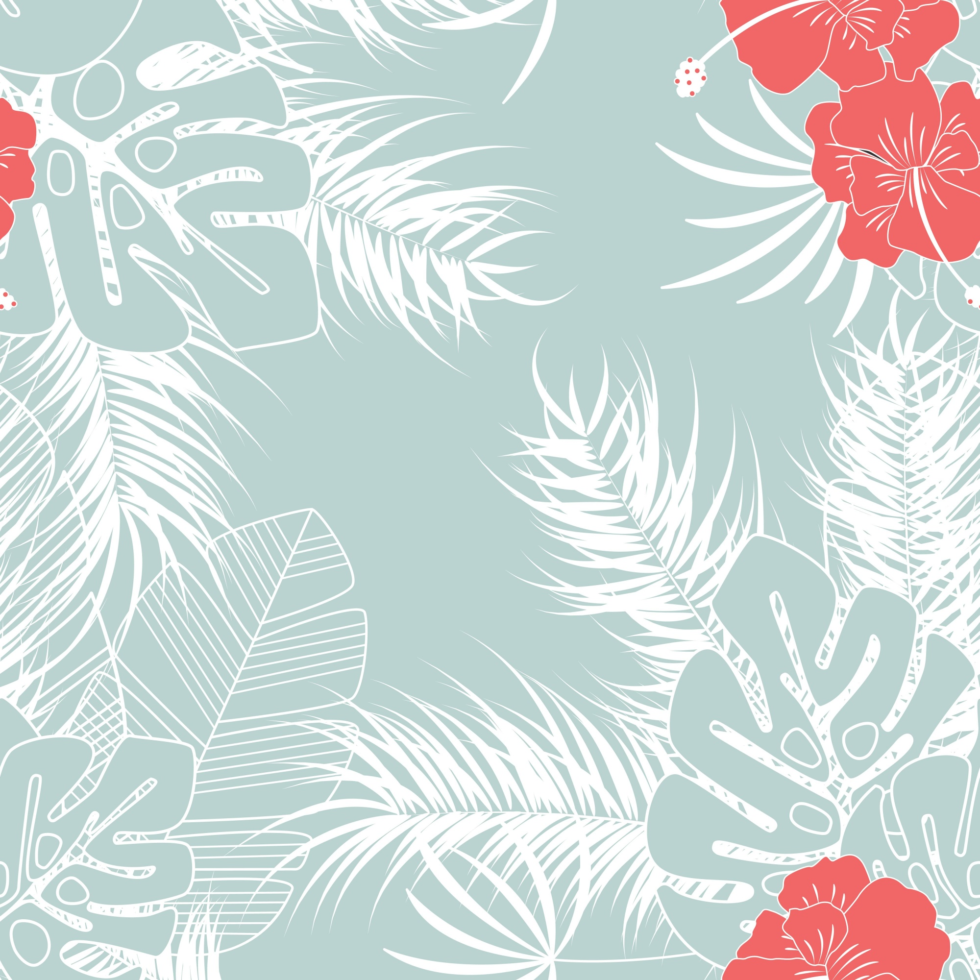 Summer seamless tropical pattern with monstera palm leaves and flowers on blue background