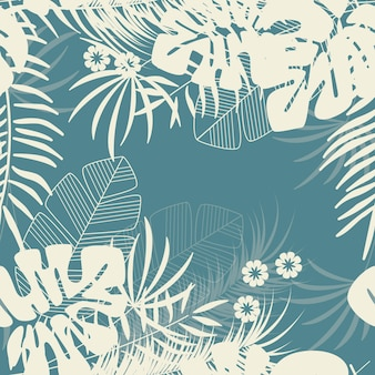 Summer seamless tropical pattern with monstera palm leaves and plants on blue background