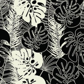Летний бесшовный тропический узор с листьями пальмы монстры и растения на темном фоне