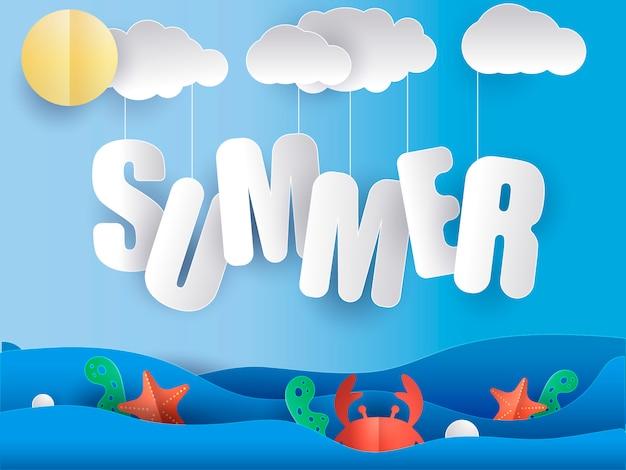 Summer seascape banner paper cut out. Premium Vector