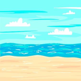 Летний морской пейзаж и иллюстрация океана