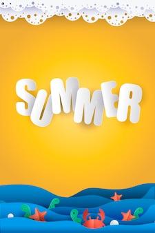 Summer seascape paper cut out sea Premium Vector