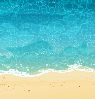 砂、トップビューで夏の海岸。波は砂、海の泡、青い水に転がります。漫画イラスト。