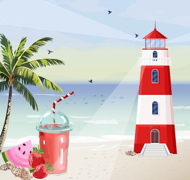 Summer seaside with lighthouse