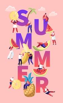 Концепция летнего сезона с тропическими фруктами