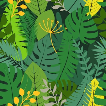 Summer season exotic leaves seamless pattern