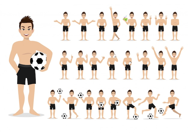 Summer season holiday. cartoon character on the beach; handsome man with swimming pant and activities design vector