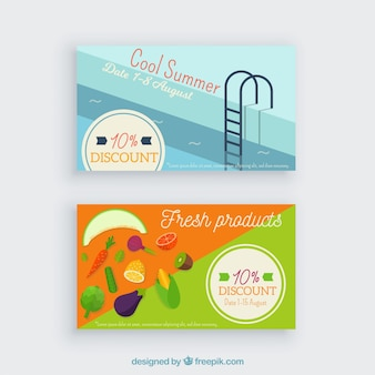 Summer season loyalty card template with flat design