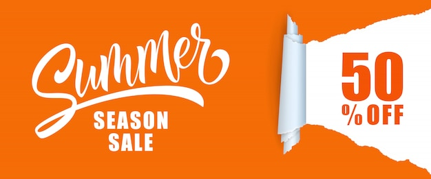 Summer season sale fifty percent off lettering.